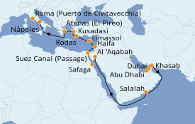 Itinerario de crucero Mar Rojo 23 días a bordo del Norwegian Jade