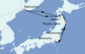 Itinerario de crucero Asia 9 días a bordo del Diamond Princess