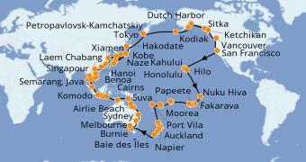 Itinerario de crucero Vuelta al mundo 2022 121 días a bordo del Seven Seas Mariner
