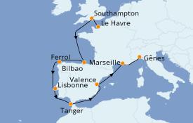 Itinerario de crucero Mediterráneo 12 días a bordo del MSC Magnifica
