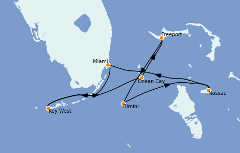 Itinerario del crucero Bahamas 7 días a bordo del MSC Armonia
