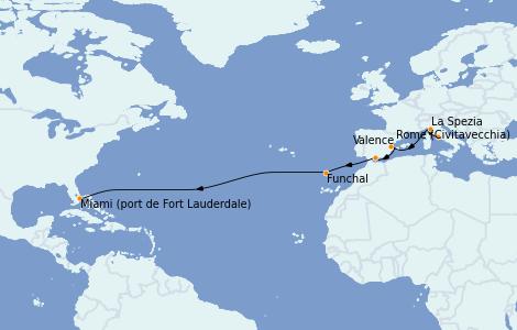 Itinerario del crucero Trasatlántico y Grande Viaje 2022 13 días a bordo del Odyssey of the Seas