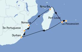 Itinerario de crucero África 15 días a bordo del MSC Musica
