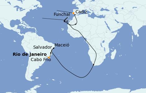 Itinerario del crucero Suramérica 15 días a bordo del MSC Preziosa