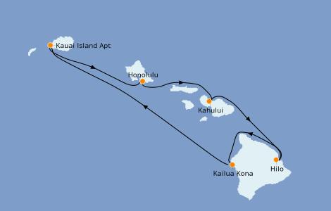Itinerario del crucero Hawaii 7 días a bordo del Pride Of America