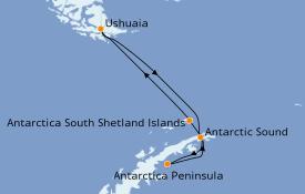 Itinerario de crucero Exploración polar 11 días a bordo del Silver Cloud Expedition