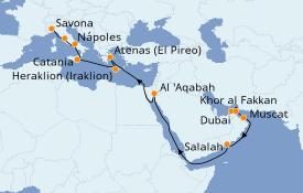 Itinerario de crucero Dubái 23 días a bordo del Costa Diadema