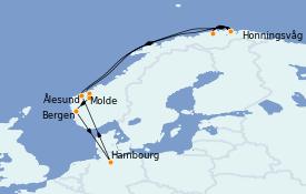 Itinerario de crucero Fiordos y Noruega 12 días a bordo del MSC Orchestra