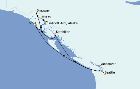 Itinerario del crucero Alaska 8 días a bordo del Ovation of the Seas