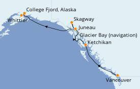 Itinerario de crucero Alaska 8 días a bordo del Grand Princess