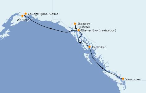 Itinerario del crucero Alaska 7 días a bordo del Grand Princess