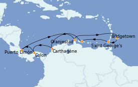 Itinerario de crucero Caribe del Este 15 días a bordo del Rhapsody of the Seas