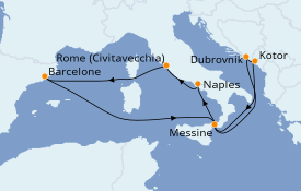 Itinerario de crucero Mediterráneo 11 días a bordo del Carnival Radiance