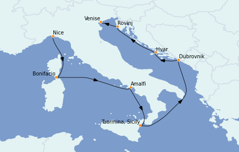 Itinerario del crucero Mediterráneo 8 días a bordo del Le Jacques Cartier