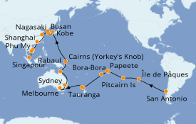 Itinerario de crucero Vuelta al mundo 2020 57 días a bordo del Costa Deliziosa