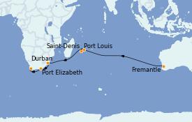 Itinerario de crucero Australia 2023 18 días a bordo del Queen Mary 2