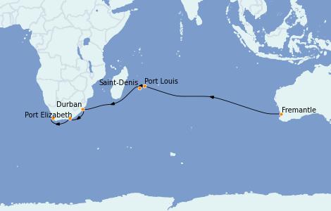 Itinerario del crucero Australia 2023 17 días a bordo del Queen Mary 2