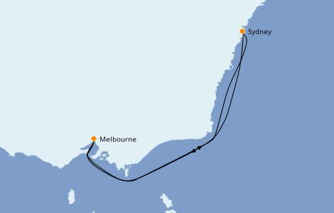 Itinerario del crucero Australia 2022 6 días a bordo del Carnival Splendor