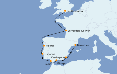 Itinerario del crucero Mediterráneo 9 días a bordo del Norwegian Star