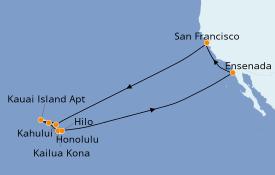 Itinerario de crucero Hawaii 17 días a bordo del Carnival Miracle