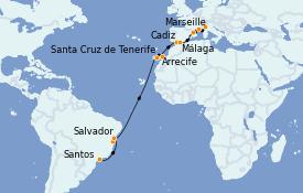 Itinerario de crucero Trasatlántico y Grande Viaje 2023 22 días a bordo del Costa Toscana