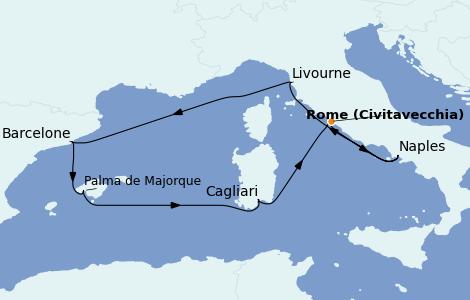 Itinerario del crucero Mediterráneo 7 días a bordo del Norwegian Epic