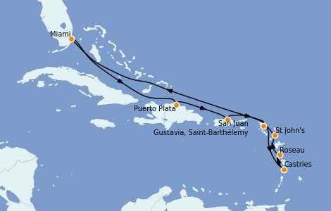 Itinerario del crucero Caribe del Este 10 días a bordo del Seven Seas Splendor
