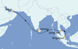 Itinerario de crucero Dubái 12 días a bordo del Queen Victoria