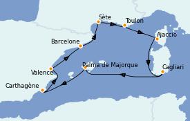 Itinerario de crucero Mediterráneo 9 días a bordo del Vision of the Seas