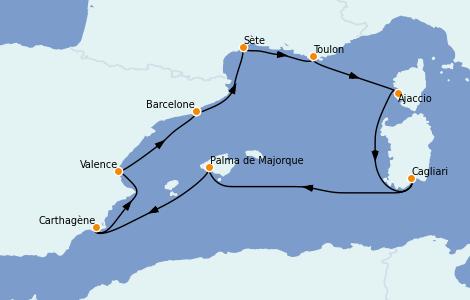 Itinerario del crucero Mediterráneo 8 días a bordo del Vision of the Seas