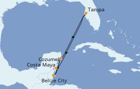 Itinerario de crucero Caribe del Oeste 7 días a bordo del Carnival Pride