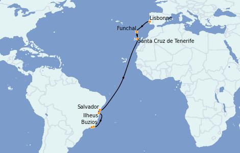 Itinerario del crucero Trasatlántico y Grande Viaje 2021 14 días a bordo del MSC Seaside