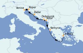 Itinerario de crucero Grecia y Adriático 8 días a bordo del Azamara Pursuit
