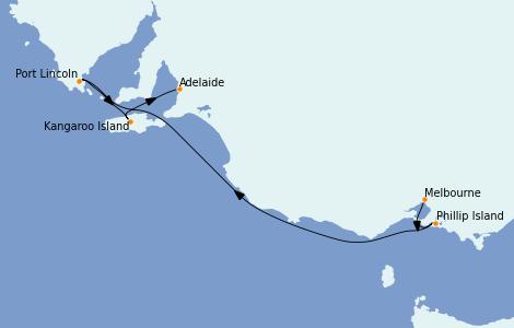 Itinerario del crucero Australia 2022 5 días a bordo del Grand Princess
