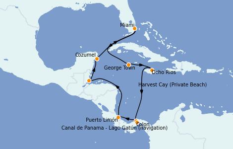 Itinerario del crucero Caribe del Oeste 11 días a bordo del Norwegian Pearl