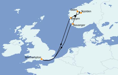 Itinerario del crucero Fiordos y Noruega 7 días a bordo del Sky Princess