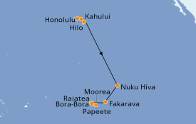 Itinerario de crucero Polinesia 16 días a bordo del Seven Seas Navigator