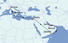 Itinerario de crucero Dubái 17 días a bordo del Costa Pacifica