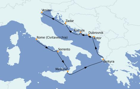 Itinerario del crucero Grecia y Adriático 7 días a bordo del Riviera