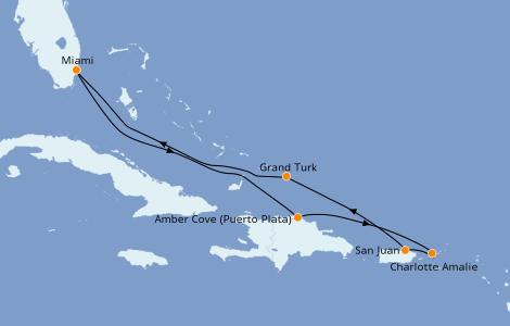 Itinerario del crucero Caribe del Este 7 días a bordo del Carnival Horizon