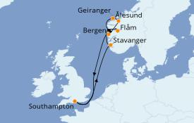 Itinerario de crucero Fiordos y Noruega 10 días a bordo del Celebrity Silhouette