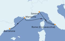 Itinerario de crucero Mediterráneo 5 días a bordo del Costa Luminosa