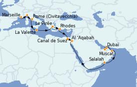 Itinerario de crucero Mediterráneo 21 días a bordo del MSC Virtuosa