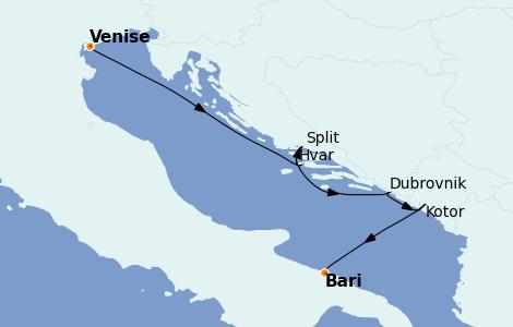 Itinerario del crucero Grecia y Adriático 6 días a bordo del Silver Dawn