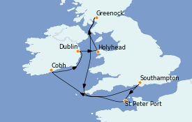 Itinerario de crucero Islas Británicas 9 días a bordo del Emerald Princess