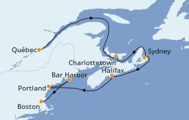 Itinerario de crucero Canadá 8 días a bordo del Norwegian Pearl