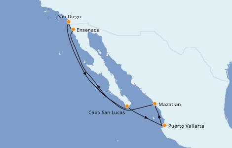 Itinerario del crucero Riviera Mexicana 7 días a bordo del Norwegian Jewel