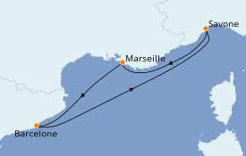 Itinerario de crucero Mediterráneo 5 días a bordo del Costa Magica