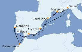 Itinerario de crucero Mediterráneo 11 días a bordo del MSC Virtuosa