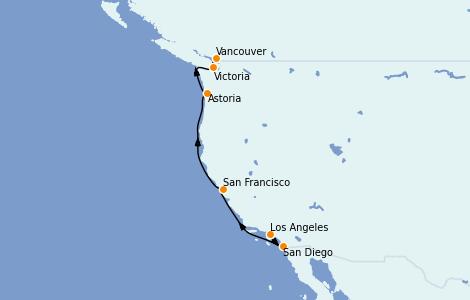 Itinerario del crucero California 7 días a bordo del Majestic Princess